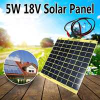KINICO 5W 18V Solar Cell Panel For Car Battery Trickle Charger Backpack Power With 1 Meter Wire + Battery Clips