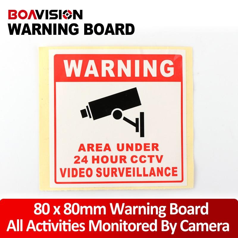20Pcs 80*80MM Decal Sticker Warning Board 24HR CCTV Camera Surveillance Camera Sticker Warning Decal Signs