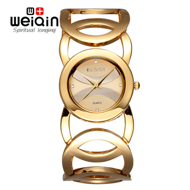 494a0fe4af6 WEIQIN Brand Luxury Crystal Gold Watches Women Fashion Bracelet Quartz  Watch Shock Waterproof Relogio Feminino orologio donna