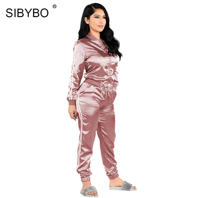 2cb6e6ec32 Sibybo Casual Long Sleeve Striped Print Satin Jumpsuit Women Autumn Loose  Drawstring Two Piece Bodysuit Sexy Club Party Romper