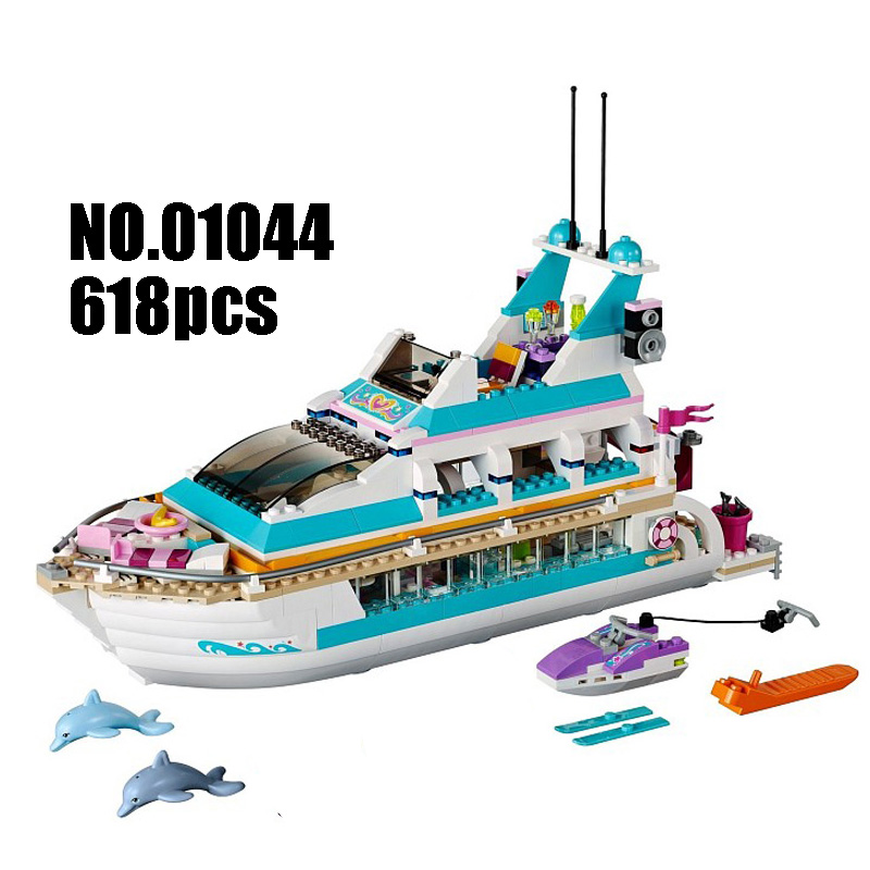 Models Building Toy Dolphin Cruiser Vessel Ship 618pcs 01044 Building Blocks Compatible Lego Friends 41015 Toys & Hobbies lepin 02012 city deepwater exploration vessel 60095 building blocks policeman toys children compatible with lego gift kid sets