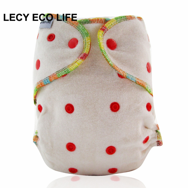 LECY ECO LIFE all in one size organic bamboo fitted diaper, natural bamboo AIO baby cloth diaper need use with a diaper cover