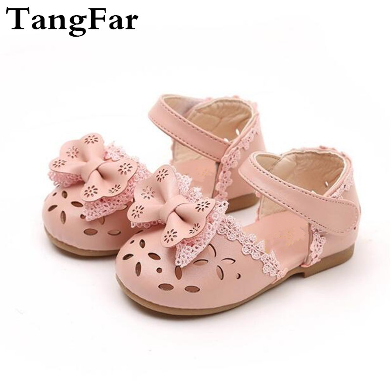 Toddler Leather Sandals Bow-knot Hollow Out Lace Shoes For Girls Baby First Walkers Infant Footwear White Pink