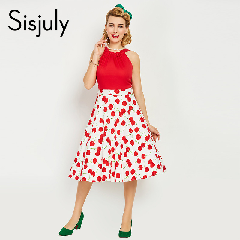 Sisjuly Vintage Dress 1950s Style Spring Summer Cherry Print Red Women Party Dress 2017 New Elegant