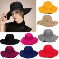 2015 New Style Soft Women Vintage Wide Brim Wool Felt Bowler Fedora Hat Floppy Cloche Women