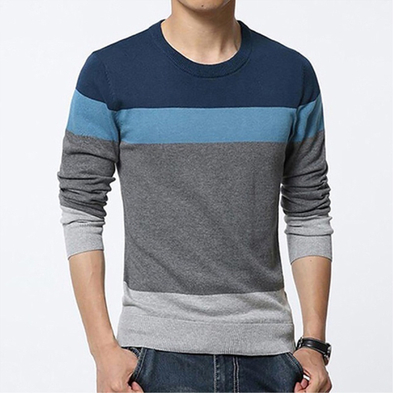 Men Casual Round Neck Color Block Long Sleeve Slim Sweater Pullover Winter Top