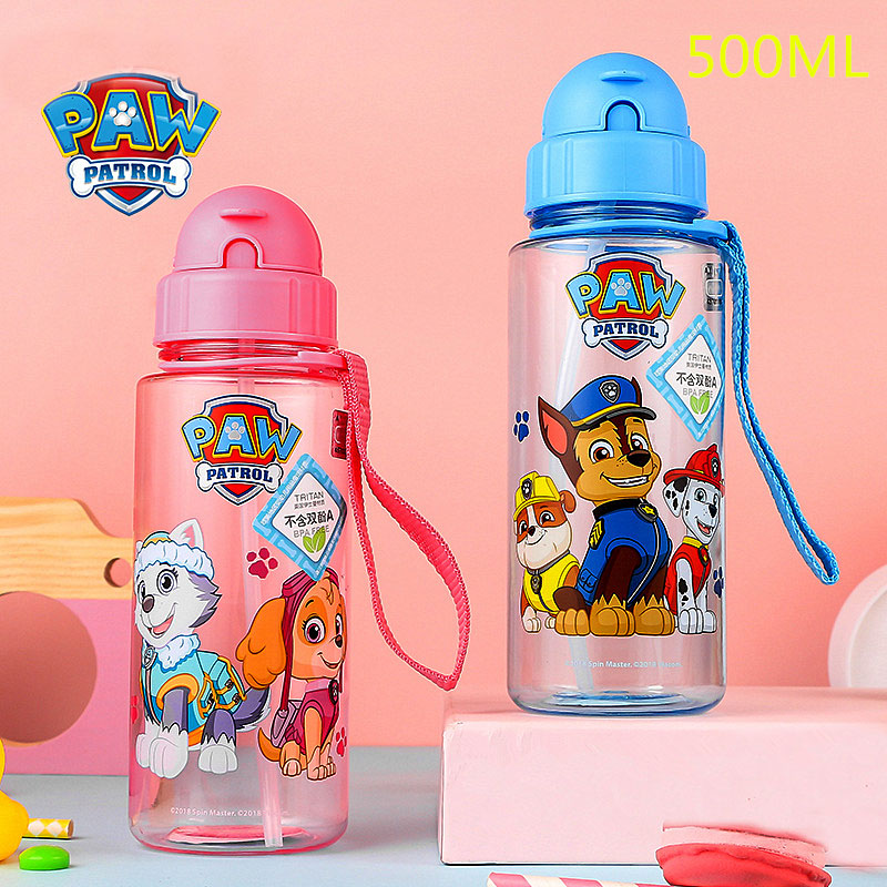 Genuine Paw Patrol Baby Kids Children School Drinking Water Straw Tritan Bottle PUPPY PATROL Suction Cup 500ML KIDS Best Toy
