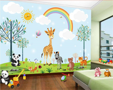 beibehang papel de parede 3d wallpaper Cute and fashionable silk animal children boys girls room background wall