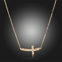 Horizontal Sideway Cross Channel Pave Crystal Slim Cable Chain Pendant Necklace  Gold Plated Fashion Jewelry Bijoux for Women