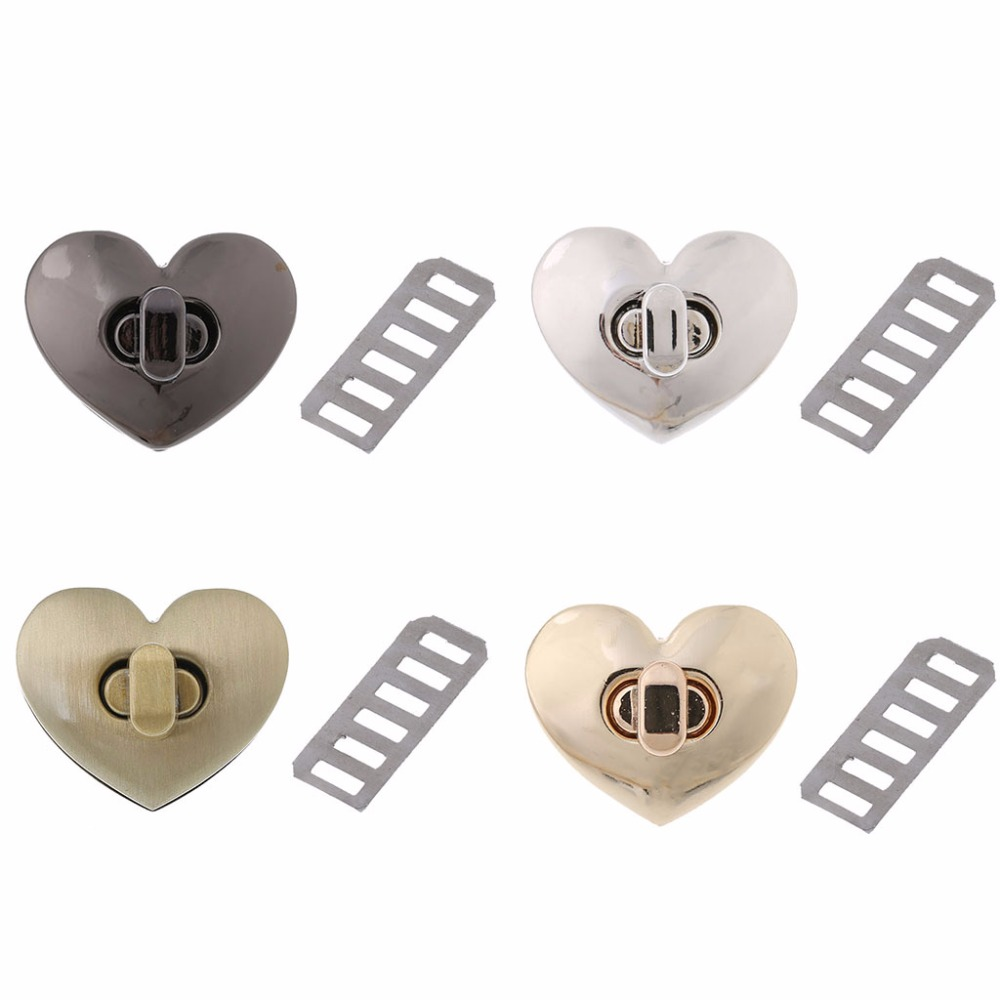THINKTHENDO New Heart Shape Clasp Metal Hardware For DIY Handbag Bag Turn Lock Twist Lock Purse Clasps Locks Bag Accessories
