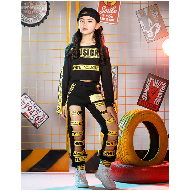 Girls Hip Hop Dance Costumes Sets Children Black letter Ribbon Jazz Clothes Short/Long-Sleeved Modern Halloween Party Clothing