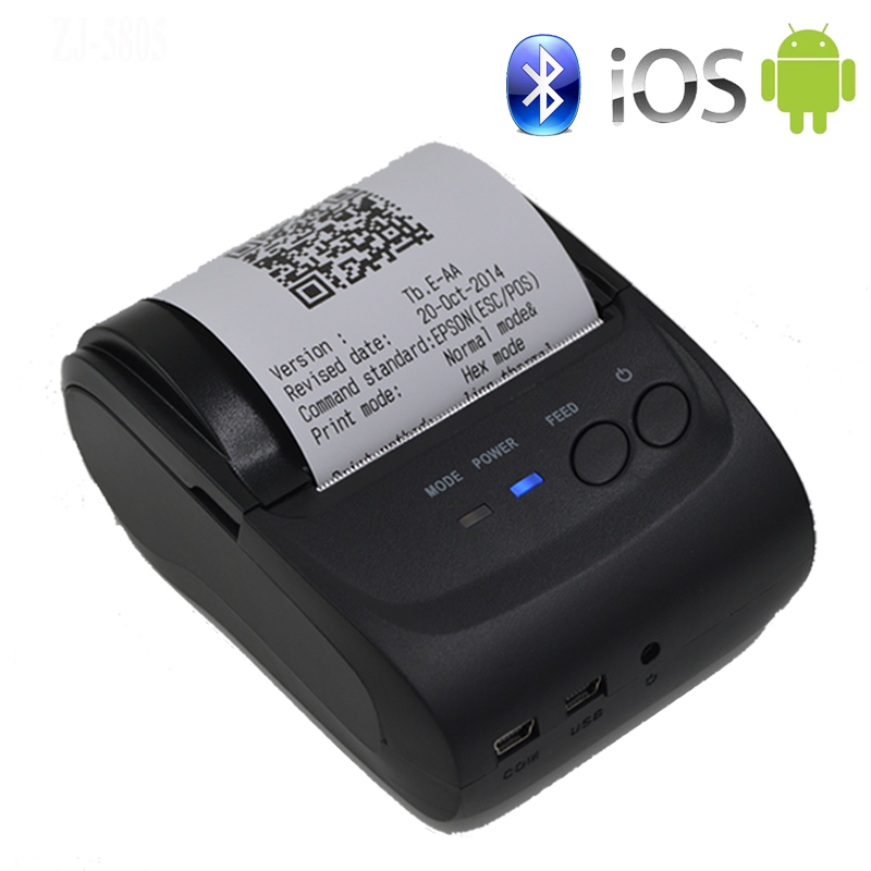 58 mm Portativ Mobil Printer Simsiz Bluetooth Printer Mini Termal Yazıcıya Dəstək Android + IOS