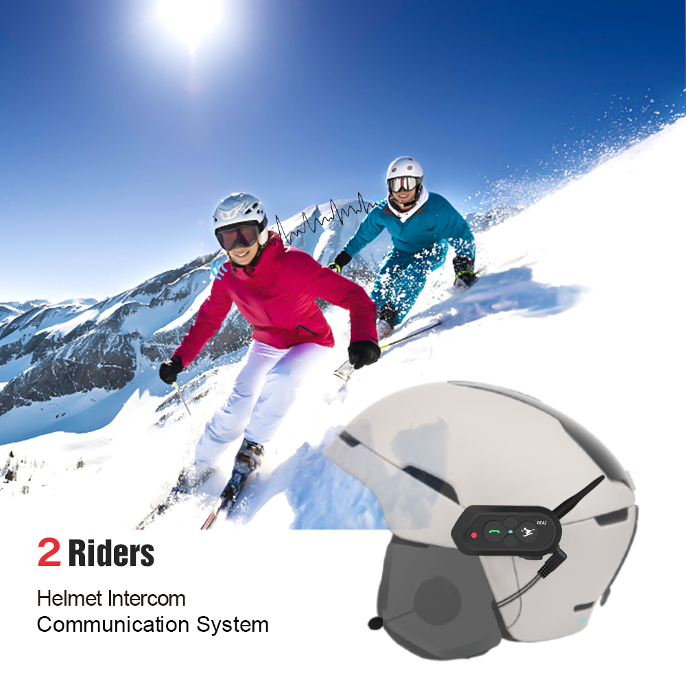 EJEAS SKI10 1000m Bluetooth SKI Helmet Intercom Headset Intercom Wireless Intercomunicador Interphone for 2 Skiers Freedconn