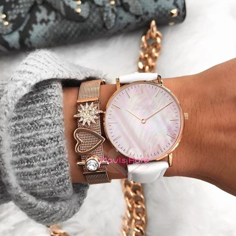 Mavis Hare Rose Gold Wrist Watches with pink seashell PU Leather wrap Bracelet Watch mixed 11 color leather as Gift Without LOGO