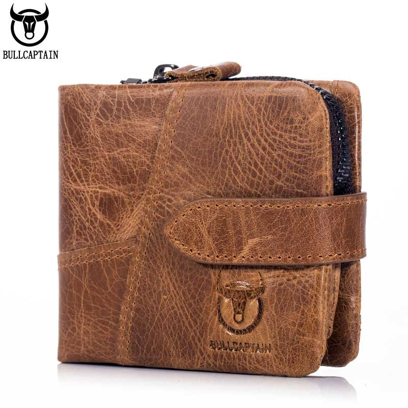 BULLCAPTAIN Vintage Leather Trifold Wallet Men Short Hasp Wallet CASUAL MALE Zipper Wallets Card Holder Money BAG Coin Purse men wallet male cowhide genuine leather purse money clutch card holder coin short crazy horse photo fashion 2017 male wallets