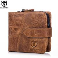 BULLCAPTAIN Vintage Leather Trifold Wallet Men Short Hasp Wallet CASUAL MALE Zipper Wallets Card Holder Money BAG Coin Purse