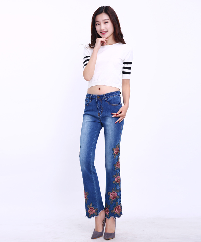 KSTUN FERZIGE Fashion Women Jeans with Embroidery Floral Design Flare Pants Bell Bottoms Boot Cut Slim Business Woman Sexy Ladies 36 15