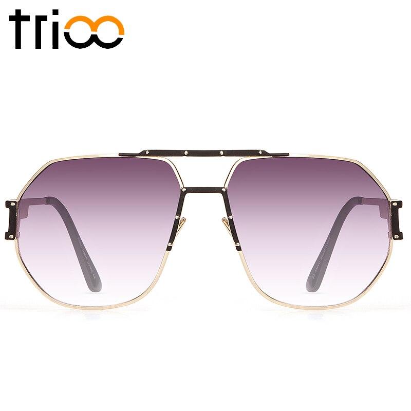 TRIOO Luxury Designer Sunglasses Men Gradient Cool gafas de sol cuadradas para hombres 2017 nuevo marco de oro de alta calidad para hombre Shades