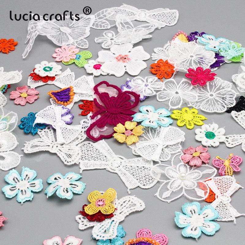 Insigne brodé en Organza Style mélange aléatoire   30g 1-12cm, bordure à nœuds floraux, patchs pour la couture, accessoires pour vêtements B0108
