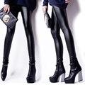 Новые Моды для Женщин Поножи Высокое Качество Искусственной Кожи Леггинсы Плюс Размер Черные Леггинсы Стретч Тощий Сексуальные Брюки Легинсы