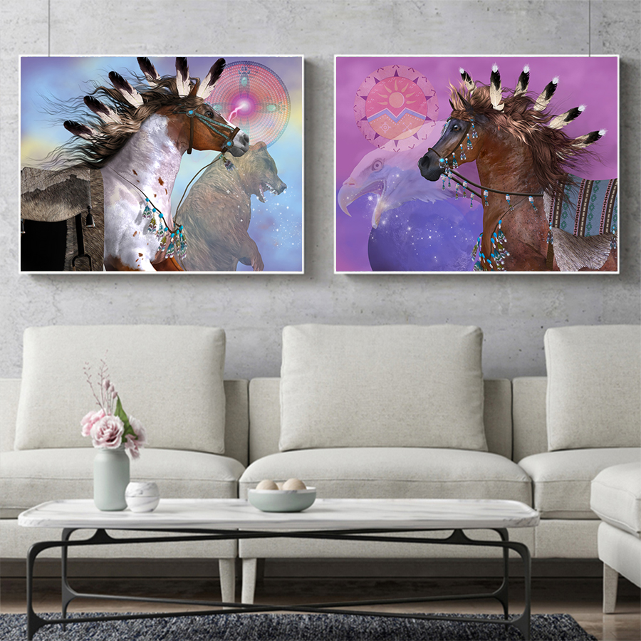 Indian Horse Canvas Painting Wall Art Native American Home