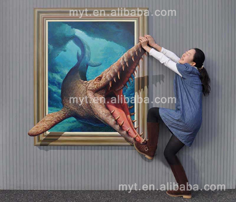 Оптовая продажа 3D стены Книги по искусству китайская живопись расписанную большой животных картина маслом на холсте настенные панно украш