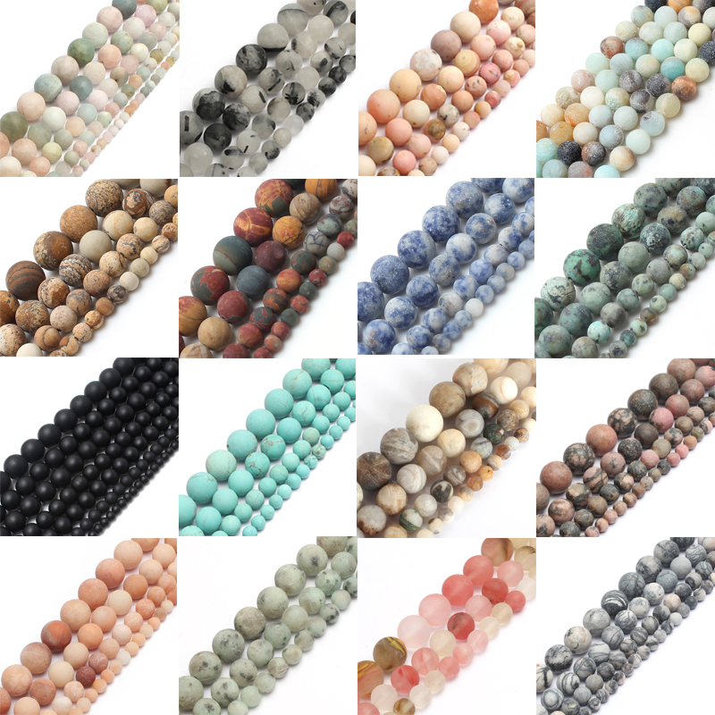 Round-Beads Diy Bracelet Eye-Stone Jewelry-Making Agates Tiger Morganite Matte Natural