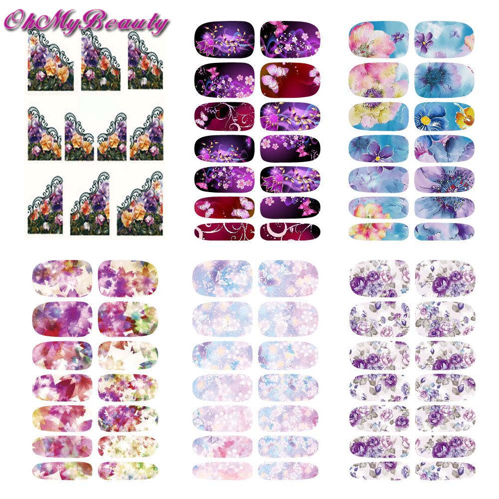 6 Sheet Nail Stickers Sets Flower Nail Decals Water Transfer Stickers Fingernail Decoration high performance customized drz400sm 1999 2013 rockstar 3m team graphics number 88 gold background decals stickers sets