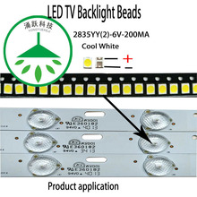 YONGYUEKEJI 100pcs/lot highlight 2835 6v 200ma 1w cool white led tv backlight beads for repair lcd light bar hot