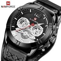 NAVIFORCE Casual Sports Watch Men Brand Luxury Quartz Watches Auto Date Leather Strap 2019 Men's Fashion Oversize Wristwatch
