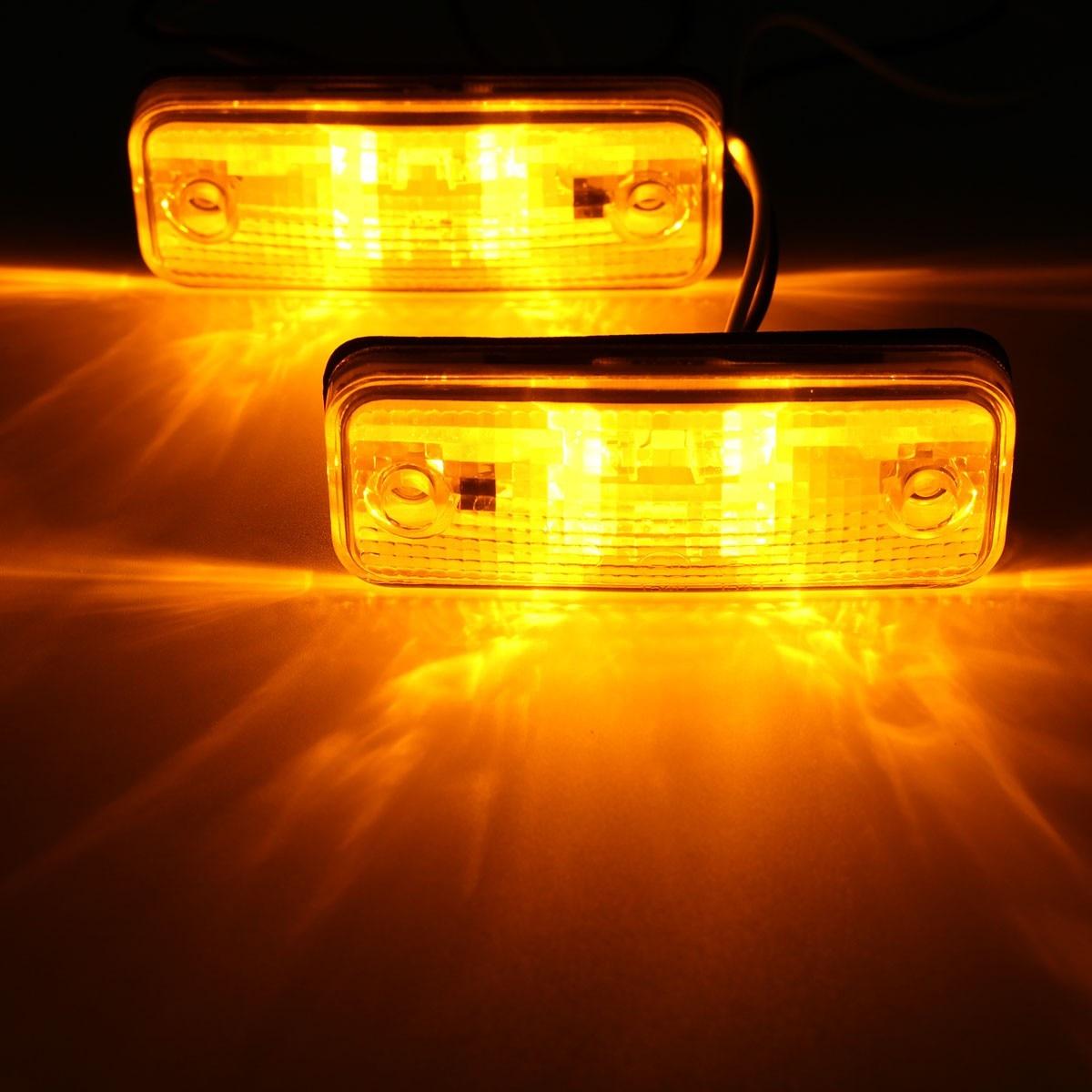 2pcs 4 <font><b>LED</b></font> Side Marker <font><b>Light</b></font> Indicator Lamp Bus <font><b>Truck</b></font> Trailer Lorry Caravan 10~30V E8