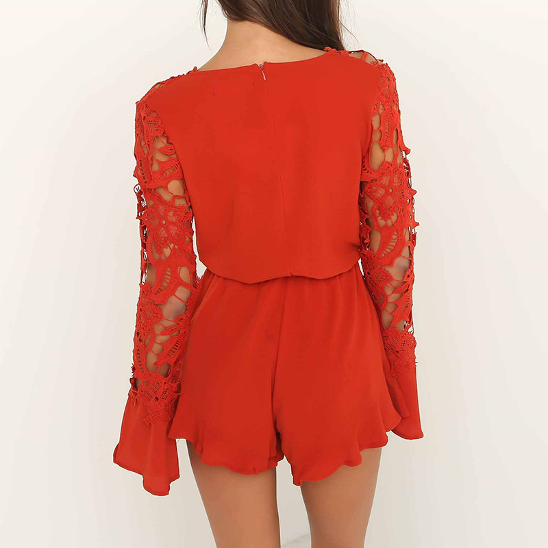 e4dddaf3e72 2018 Red Lace Jumpsuit Rompers Women Deep V Long Sleeve Sexy Jumpsuit  Female Elegant Front Bow Tie Playsuit Beach Overalls-in Rompers from Women s  Clothing ...