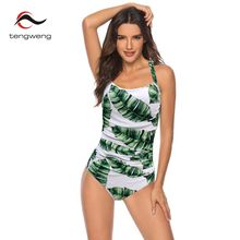 2019 Sexy one piece Floral Swimsuit Women Tummy Control Swimwear Vintage Print Ruched Monokini Push up Bathing suits Plus Size