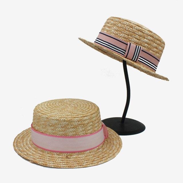 2017 3 rosa ribbonp Rodada Flat Top chapéu De Palha para mulheres da praia  do verão 6edebd6980c