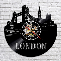 London Digital Wall Clock Modern Design LED Lighting Clocks with 7 Different Colors Vinyl Record Wall Watch Home Decor Silent