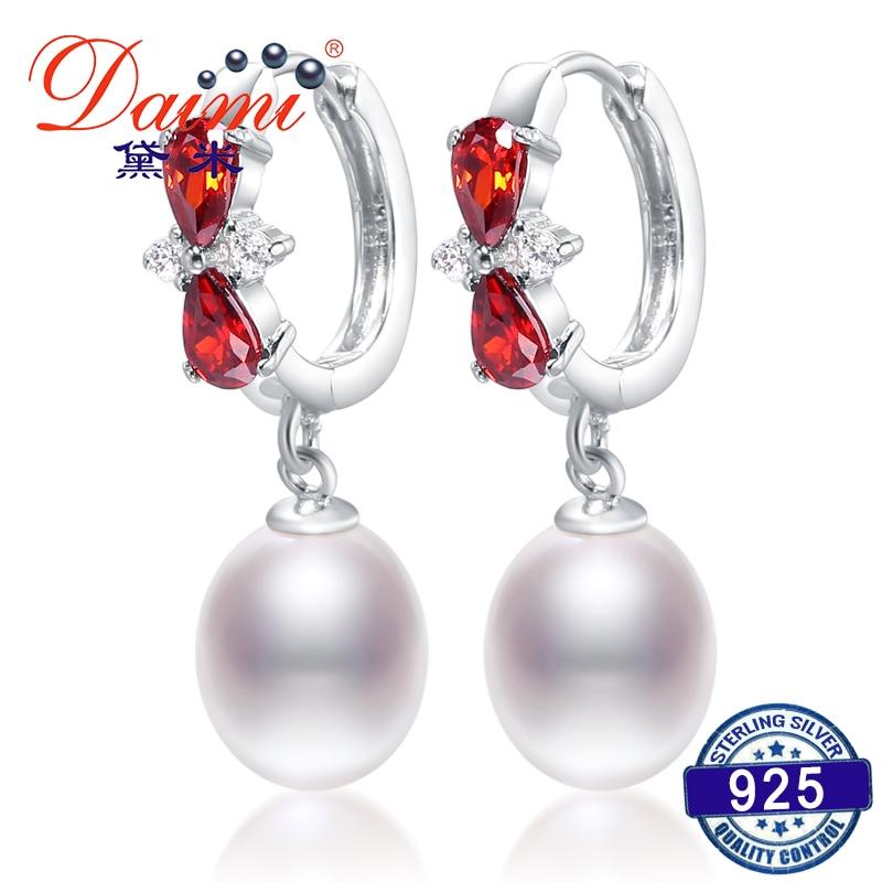 DAIMI Drop Earrings 8-9mm Tear Drop Pearl Dangler Shiny Red Crystal with 925 Silver Earrings Pearl Eardrop faux pearl layered hoop drop earrings