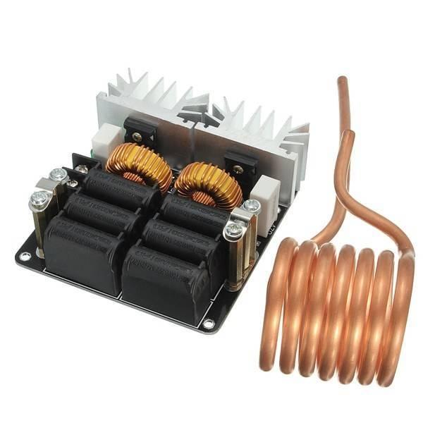 Низкий ЗВС 12-48 В 20A 1000 Вт Высокочастотный Индукционный Нагрев Машина Модуль с латунь катушки Бесплатная Доставка