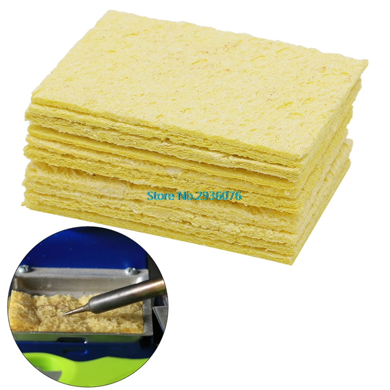 10Pcs Yellow Cleaning Sponge Cleaner fr Enduring Electric Welding Soldering Iron wlxy wl 002 mini soldering iron stand w cleaning sponge black yellow