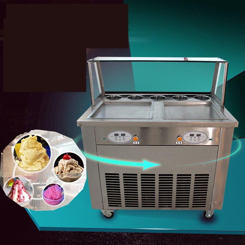 Ücretsiz gemi En kaliteli çift pan çift kompresör fry buz pan makinesi, 1600 W kızarmış buz makinesi, kızarmış dondurma rulo makinesi