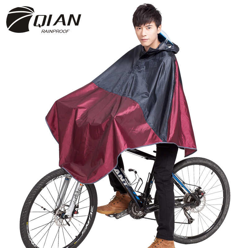 QIAN Impermeable Raincoat Women/Men Bicycle Rain Poncho Waterproof Thicker Camping Cycling Motorcycle Rain Coat Bigger Size 3XL