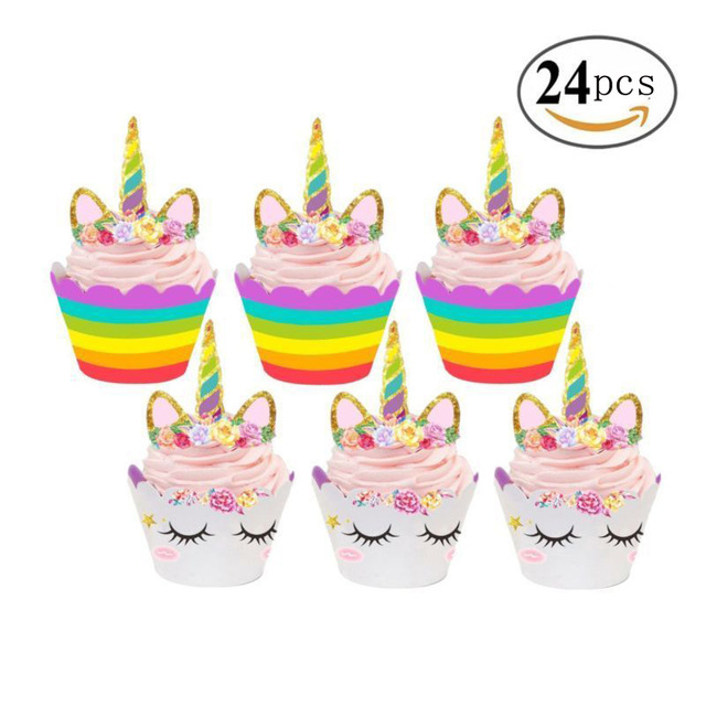 240Pcs 10bag Unicorn Rainbow Cake Toppers Cupcake Wrappers Birthday Party Figures Pvc Action Toys