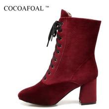bb706f3880501 COCOAFOAL mujer encaje de invierno Chelsea tobillo botas negro Rosa rojo botas  Martin más tamaño 33 43 moda de tacón alto zapato.