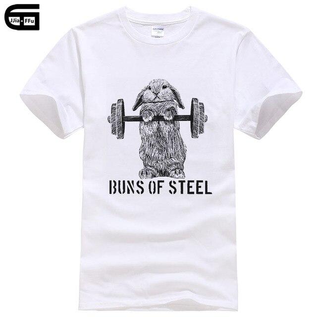 2018 moda de verano Cool hombres camiseta conejo halterofilia divertida camiseta Buns de acero (luz) impreso Tops camisetas T425