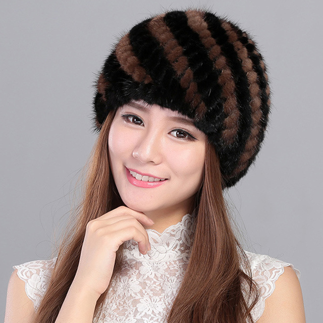 Fur Hat Guarantee 100% Natural Genuine Mink Fur Cap Women Knitted Black Beanie Hats For Winter Bone Fashion Warm Pineapple Caps