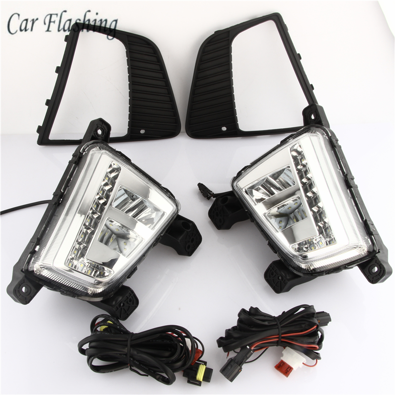 Car Flashing For Hyundai ix25 Creta 2014 2015 2016 Driving DRL Daytime Running Light fog lamp