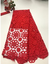 5yards/lot High quality nigerian wedding african lace fabrics/most popular guipure cord fabric for dress