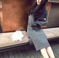 Autumn And Winter Long Sleeve Side Vent Knitting Dress Slim Thickened Female Sweater Dress Korean Style