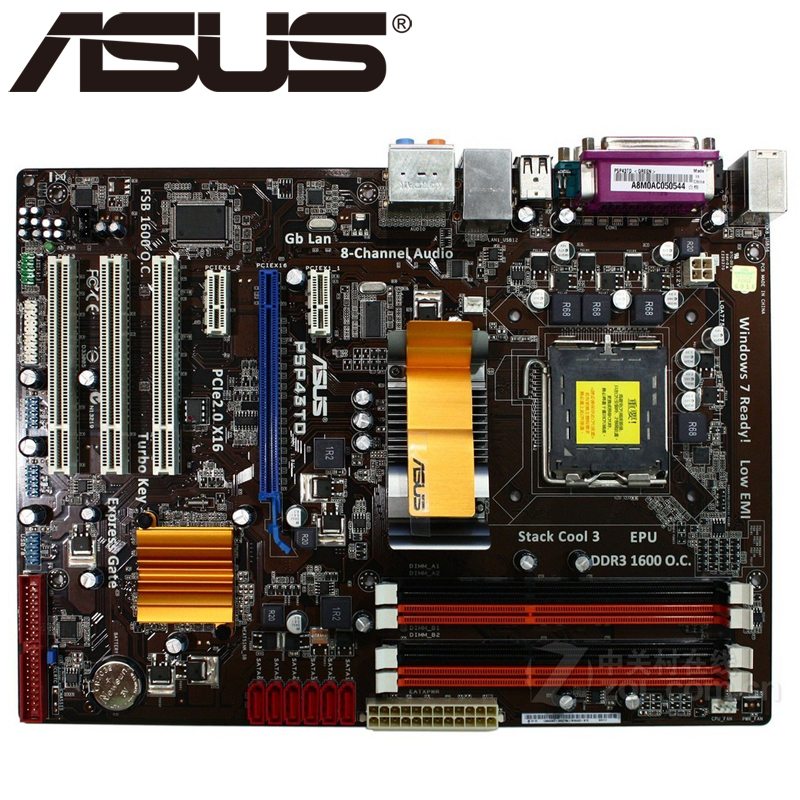 Asus P5P43TD Desktop Motherboard P43 Socket LGA 775 Q8200 Q8300 DDR3 16G ATX UEFI BIOS Original Used Mainboard On Sale asus p5ql cm desktop motherboard g43 socket lga 775 q8200 q8300 ddr2 8g u atx uefi bios original used mainboard on sale