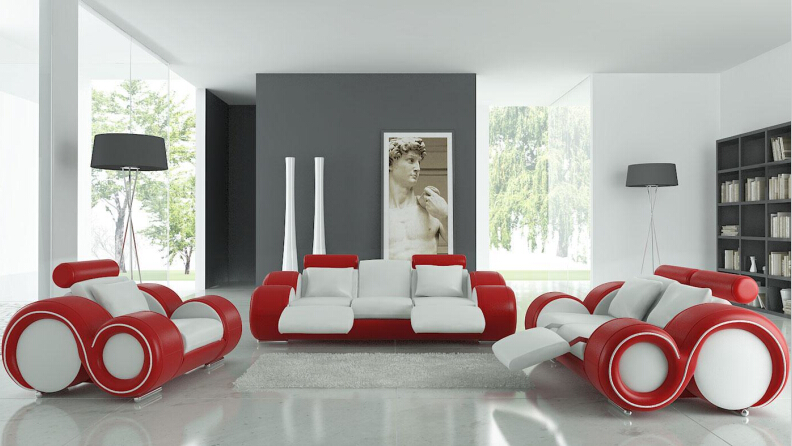 Modern sofa set with genuine leather sofa set recliner