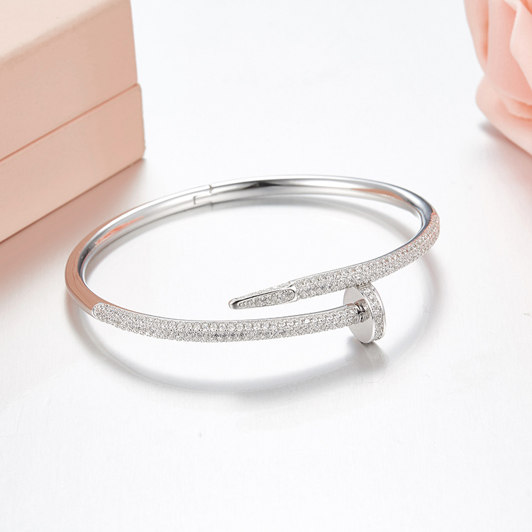 Classic Big Brand Pure 925 Sterling Silver Jewelry bracelet For Women Rose Gold Nail Bangle Jewelry Silver love bangle popular good quality gift silver jewelry bangle pink love heart famous crystals 925 pure silver bangle